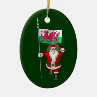 Santa Claus With Ensign Of Wales Ceramic Oval Ornament