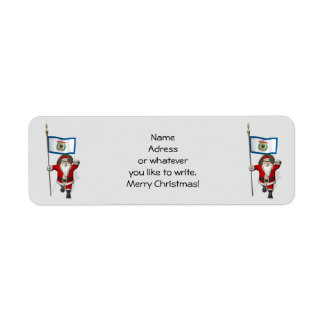 Santa Claus With Ensign Of West Virginia Return Address Label