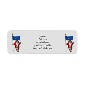 Santa Claus With Ensign Of Wisconsin Return Address Label