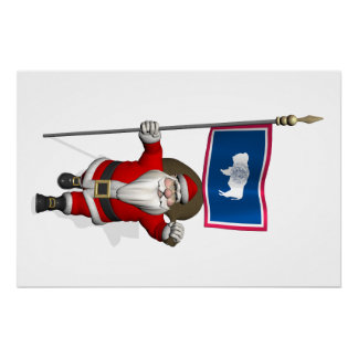 Santa Claus With Ensign Of Wyoming Perfect Poster