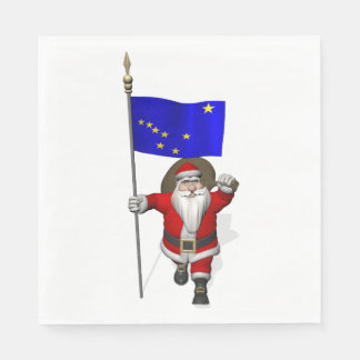 Santa Claus With Flag Of Alaska Paper Napkins