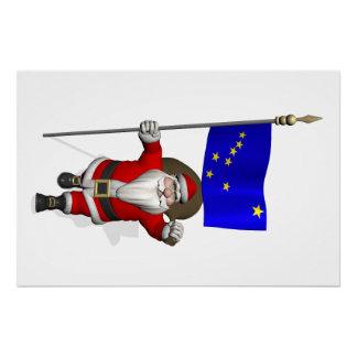 Santa Claus With Flag Of Alaska Perfect Poster