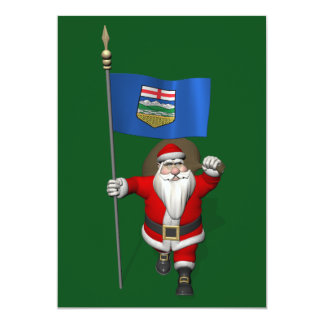 Santa Claus With Flag Of Alberta CDN Card