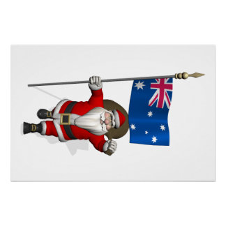 Santa Claus With Flag Of Australia Perfect Poster