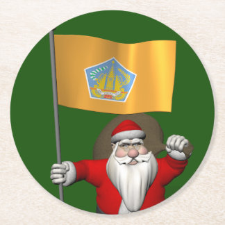 Santa Claus With Flag Of Bali Round Paper Coaster