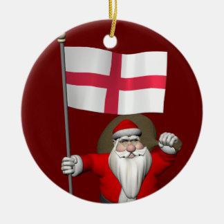 Santa Claus With Flag Of England Ceramic Ornament