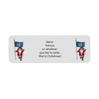 Santa Claus With Flag Of Nebraska Return Address Label