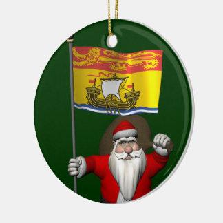 Santa Claus With Flag Of New Brunswick Ceramic Ornament