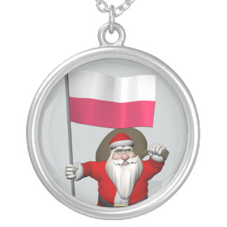 Santa Claus With Flag Of Poland Silver Plated Necklace