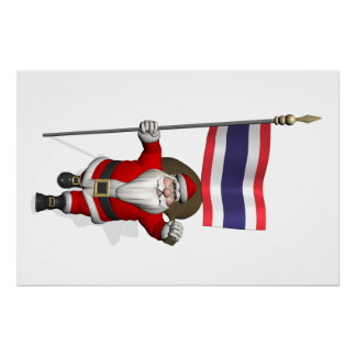 Santa Claus With Flag Of Thailand Perfect Poster