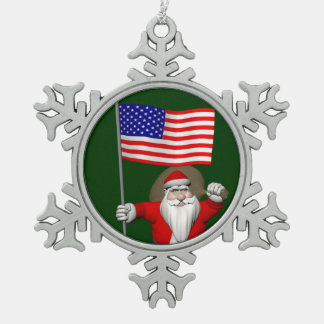 Santa Claus With Flag Of The USA Snowflake Pewter Christmas Ornament