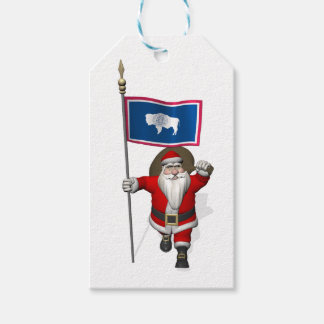 Santa Claus With Flag Of Wyoming Pack Of Gift Tags