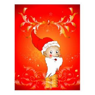 Santa Claus with floral elements Postcard