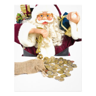 Santa Claus with gifts and money coins Custom Letterhead
