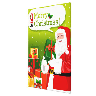 Santa Claus with gifts Stretched Canvas Print