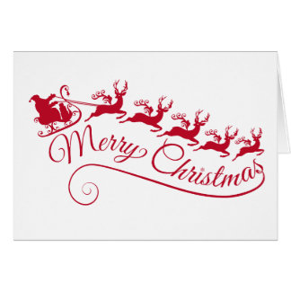 Santa Claus with his sleigh and reindeer Card