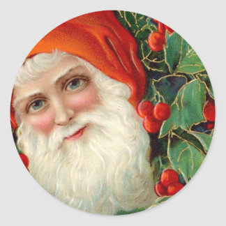 Santa Claus with Holly Christmas Classic Round Sticker