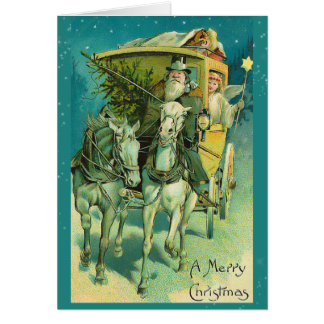 Santa Claus with Horse Drawn Carriage Note Card