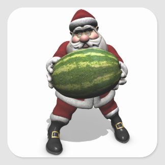 Santa Claus With Huge Watermelon Square Sticker