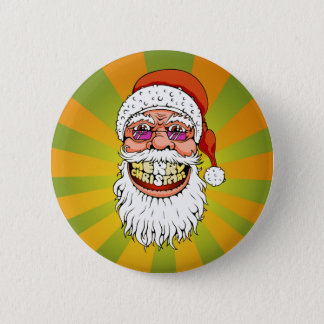 santa claus with merry christmas smile 2 inch round button