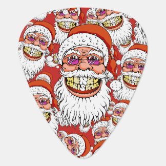 santa claus with merry christmas smile guitar pick