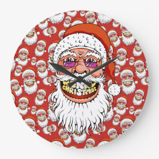 santa claus with merry christmas smile large clock