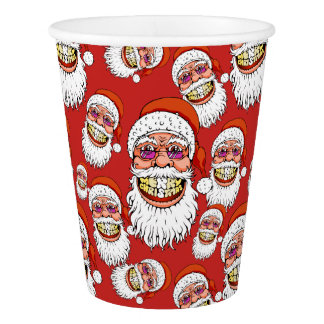 santa claus with merry christmas smile paper cup