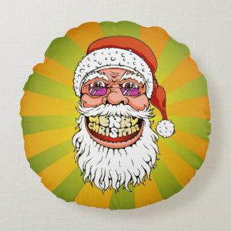 santa claus with merry christmas smile round pillow