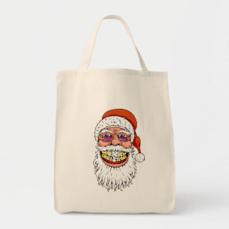 santa claus with merry christmas smile tote bag