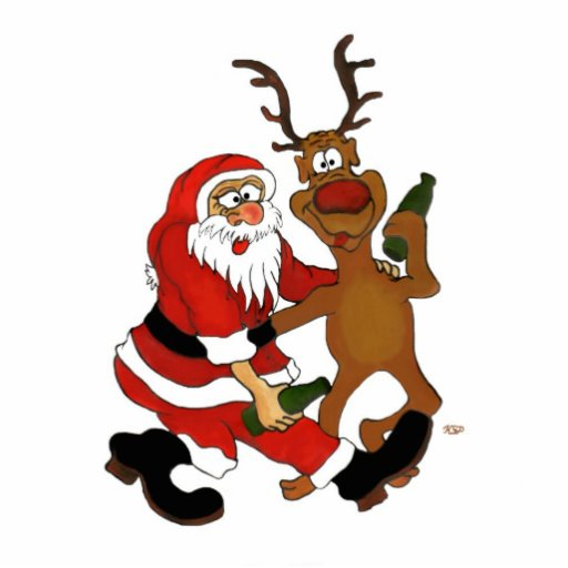 Santa Claus with moose Cut Outs