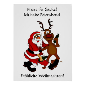 Santa Claus with moose - Prost it bags! Print