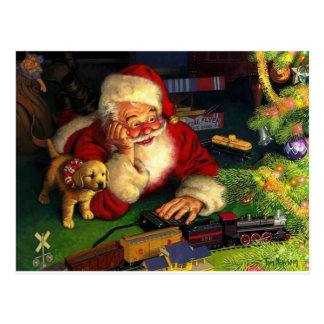 Santa Claus With Puppy Postcard