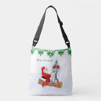 Santa Claus with Rabbit Fox and Squirrel Crossbody Bag