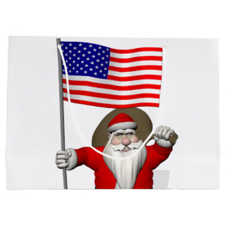 Santa Claus With Star Spangled Banner Large Gift Bag