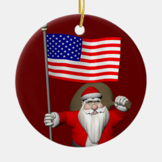 Santa Claus With Star Spangled Banner Round Ceramic Ornament