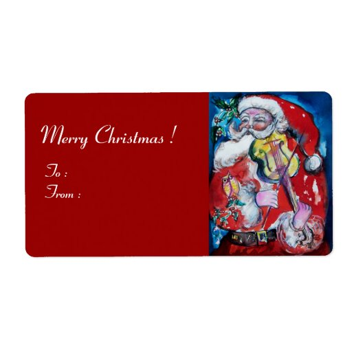 SANTA  CLAUS WITH VIOLIN SHIPPING LABEL