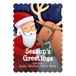 """Santa Claus working with reindeer 5"""" X 7"""" Invitation Card"""