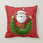 santa claus wreath throw pillow