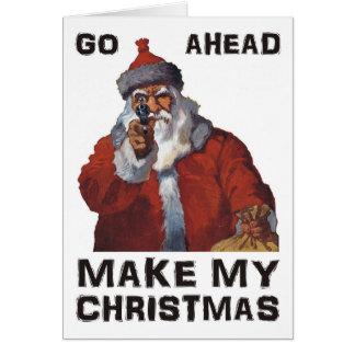 Santa Clause aiming gun - Make My Funny Christmas Card