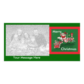 Santa Clause Candy Train Custom Photo Card