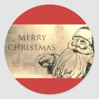 Santa Clause Christmas sticker. Classic Round Sticker
