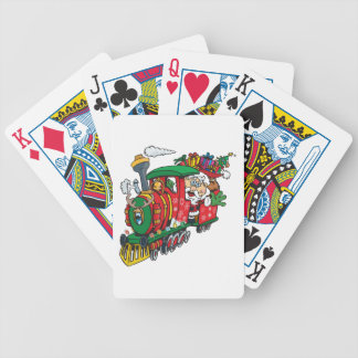 Santa Clause coming to town on his Locomotive Bicycle Playing Cards