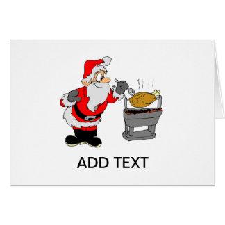Santa Clause Cooking BBQ Turkey Christmas Card