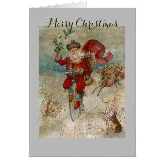 Santa Clause On A Bike Card