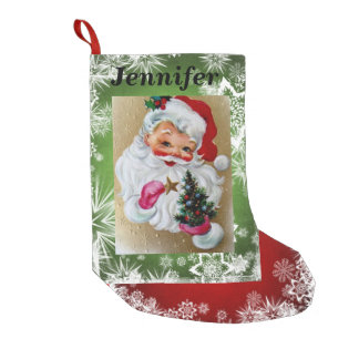 Santa  Clause Red & Green YOUR NAME & PHOTO Snow Small Christmas Stocking