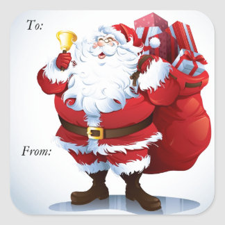 Santa Clause Square Sticker Christmas Tags