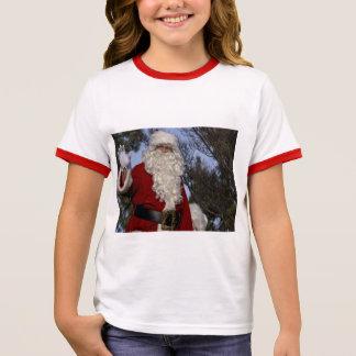 Santa Clause Waving Ringer T-Shirt