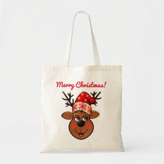 Santa Claus's Reindeer Cartoon Tote Bag