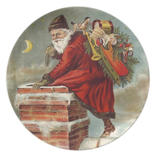Santa Cookie Plate- Old World Santa Down Chimney Plate