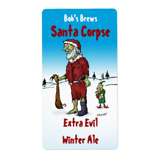 Santa Corpse Zombie Homebrew Beer Label Shipping Label
